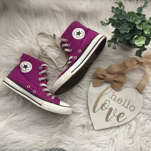 Converse All Star Magenta Girl's Hi Top Sneakers 3